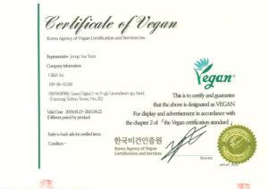 Gilla8 vegan certificate
